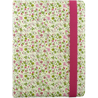 Emartbuy I.onik Tablet 10 Inch PC 9.7-1200QC-Ultra Pink / Green Floral Premium PU Leather Multi Angle Executive Folio Wallet Case Cover With Card Slots + Stylus