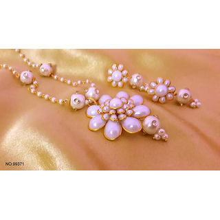 Traditional Indian Work Pacchi Work Necklace Set with Earrings in Pearl very Lovely
