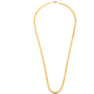 Gold Plated interlock criss cross Design Wedding/Festive wear 24 inches long Chain for Men/Boys by GoldNera