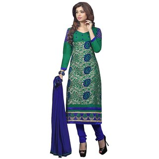 Trendz Apparels Green Glace Cotton Straight Fit Salwar Suit