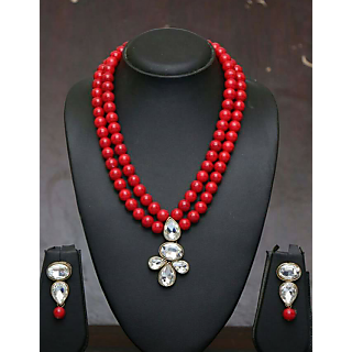 Vintage Handmade Red Color Beaded Necklace Set With Earrings New Western Jewelry