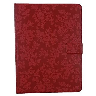Emartbuy Dell Venue 10 Pro 5000 Series 10.1 Inch Windows Tablet Red Vintage Floral Premium PU Leather Multi Angle Executive Folio Wallet Case Cover With Card Slots + Stylus