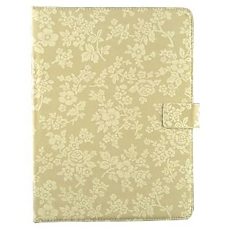 Emartbuy Odys Rapid 10 LTE Tablet 10.1 Inch Beige Vintage Floral Premium PU Leather Multi Angle Executive Folio Wallet Case Cover With Card Slots + Stylus