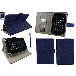 Emartbuy Vox V102 Tablet 7 Inch Universal Range Blue Vintage Floral Multi Angle Executive Folio Wallet Case Cover With Card Slots + Stylus
