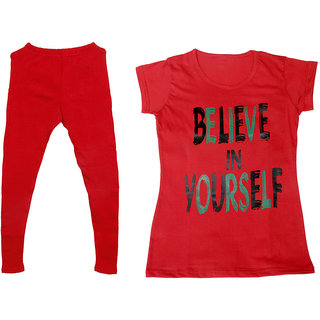 IndiWeaves Women 1 Warm Wollen Legging Legging with 1 Half Sleeves Cotton T-Shirt for Winters (Set of- 2)