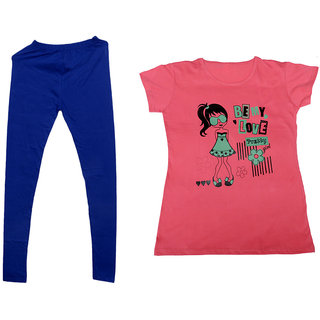 Indistar Women 1 Warm Wollen Legging Legging with 1 Half Sleeves Cotton T-Shirt for Winters (Set of- 2)