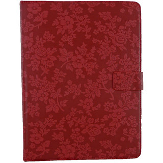 Emartbuy Mediacom SmartPad 10.1 Inch S4 Tablet Red Vintage Floral Premium PU Leather Multi Angle Executive Folio Wallet Case Cover With Card Slots + Stylus