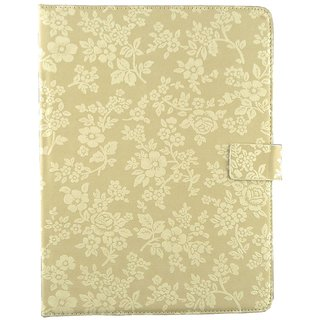 Emartbuy Mediacom SmartPad 10.1 Inch S4 Tablet Beige Vintage Floral Premium PU Leather Multi Angle Executive Folio Wallet Case Cover With Card Slots + Stylus