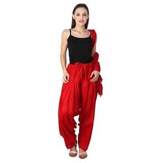 c0e5cb9d94 PISTAA'S BRIGHT MAROON Ready To Wear Full Cotton Patiala Salwar With Dupatta
