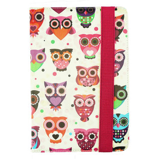 Emartbuy Miia Tab MT-744GQ Tablet 7 Inch Universal Range Multi Owls Multi Angle Executive Folio Wallet Case Cover With Card Slots + Stylus