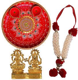 Kundan Work Pooja Thali With Laxmi-Ganesh Statue, Mala, 2 Decorated Diya Set for Diwali