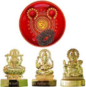 Om Pooja Thali With Laxmi-Ganesh-Kuberan Statue, Mala, 2 Decorated Diya Set for Diwali