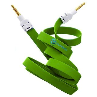 Simple  Stylish 3.5mm Male to Male Aux Cable/ Premium Metal Connector and Shell Audiophile Grade Pvc Tangle-free Material (Green) for Lava Iris 400s