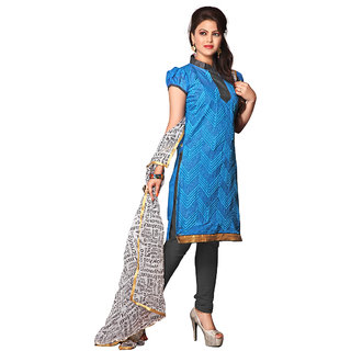 Trendz Apparels Blue Chanderi Cotton Silk Straight Fit Salwar Suit