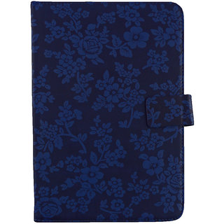 Emartbuy Xoro PAD 10W4 Windows Tablet PC 10.1 Inch Blue Vintage Floral Premium PU Leather Multi Angle Executive Folio Wallet Case Cover With Card Slots + Stylus