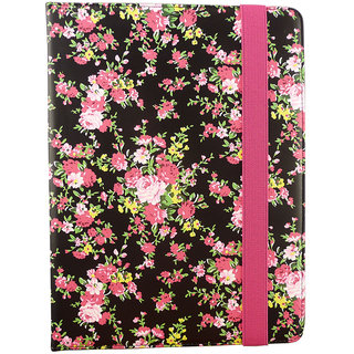 Emartbuy Mediacom WinPad 10.1 Inch X110 Tablet Black Rose Garden Premium PU Leather Multi Angle Executive Folio Wallet Case Cover With Card Slots + Stylus
