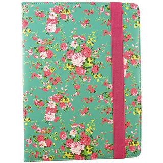 Emartbuy Odys WinTab 10 10.1 Inch Tablet Green Rose Garden Premium PU Leather Multi Angle Executive Folio Wallet Case Cover With Card Slots + Stylus