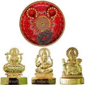 Kundan Work Pooja Thali With Laxmi-Ganesh-Kuberan Statue, Mala, 2 Decorated Diya Set for Diwali