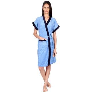 Imported Cotton Elegant Double Shaded Bathrobe (DSky Navy)