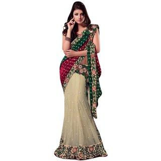 Aagaman Fashion Striking Cream Colored Embroidered Net Viscose Lehenga Saree 2513