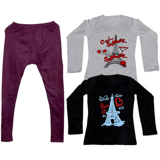 Indistar Women 1 Warm Wollen Legging Legging with 2 Full Sleeves Cotton T-Shirt for Winters (Set of- 3)