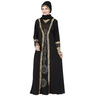 Aagaman Fashion Elegant Black Colored Stone Worked Satin Lycra Readymade Burka