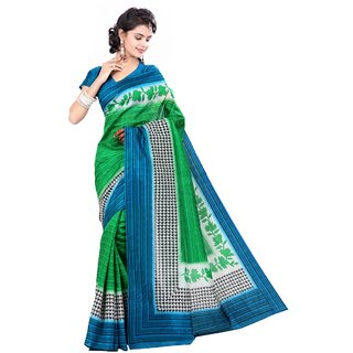Aagaman Fashion Scenic Green Colored Printed Art Silk Saree 918