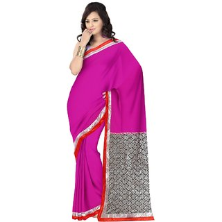 Aagaman Fashion Startling Magenta Colored Border Worked Georgette Net Saree 13149