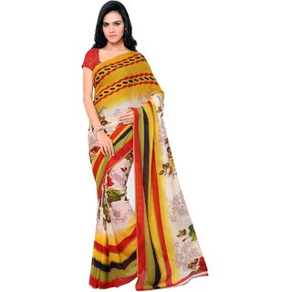 Aagaman Fashion Classy Multi Colored Printed Faux Georgette Saree 13220