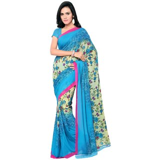 Aagaman Fashion Smart Blue Colored Printed Faux Georgette Saree 13221
