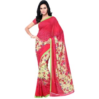 Aagaman Fashion Pleasing Pink Colored Printed Faux Georgette Saree 13222