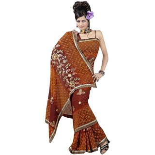 Aagaman Fashion Alluring Brown Colored Embroidered Faux Georgette Saree 465