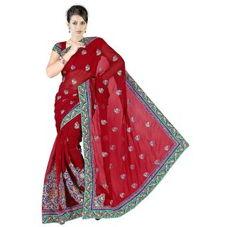 Aagaman Fashion Striking Maroon Colored Embroidered Faux Georgette Saree 12372
