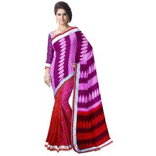 Aagaman Fashion Trendy Multi Colored Printed Georgette Net Saree 86008E