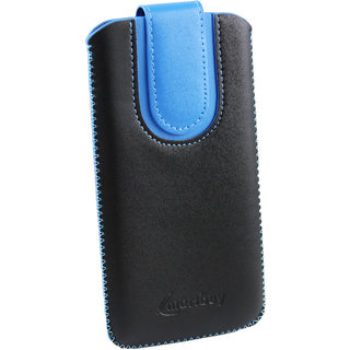 Emartbuy Black / Blue Plain Premium PU Leather Slide in Pouch Case Cover Sleeve Holder ( Size LM4 ) With Pull Tab Mechanism Suitable For Archos 55 Diamond Selfie Lite