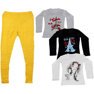 IndiWeaves Women 1 Warm Wollen Legging Legging with 3 Full Sleeves Cotton T-Shirt for Winters (Set of- 4)