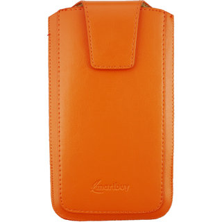 Emartbuy Sleek Range Orange Luxury PU Leather Slide in Pouch Case Cover Sleeve Holder ( Size 5XL ) With Magnetic Flap  Pull Tab Mechanism Suitable For LG V20
