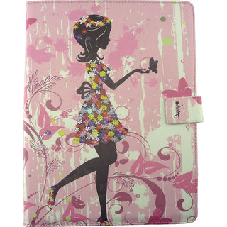 Emartbuy Zoostorm 10.1 Inch PlayTab Pink Flower Girl Premium PU Leather Multi Angle Executive Folio Wallet Case Cover With Card Slots + Stylus