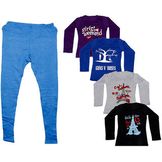 IndiWeaves Women 1 Warm Wollen Legging Legging with 4 Full Sleeves Cotton T-Shirt for Winters (Set of- 5)