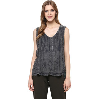 Angna Apparels Women 100 Rayon Charcoal Acid Wash Tank Top With Embroidery and Lace back Yoke-Charcoal