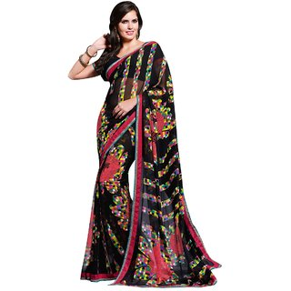 Aagaman Fashion Pleasing Black Colored Printed Faux Georgette Saree 1209