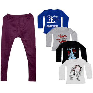 Indistar Women 1 Warm Wollen Legging Legging with 4 Full Sleeves Cotton T-Shirt for Winters (Set of- 5)