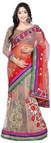 Aagaman Fashion Admirable Multi Colored Embroidered Net Brasso Lehenga Saree 9205