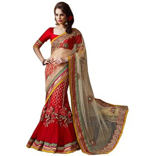 Aagaman Fashion Divine Red Colored Embroidered Net Viscose Lehenga Saree  2026