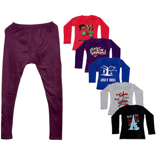 Indistar Women 1 Warm Wollen Legging Legging with 5 Full Sleeves Cotton T-Shirt for Winters (Set of- 6)