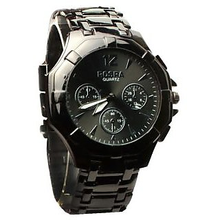 Rosra Round Dial Black Metal Strap Mens Watch