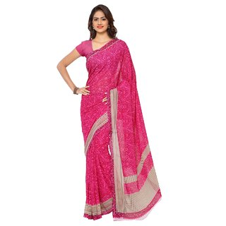 Aagaman Fashion Fashionable Magenta Colored Printed Faux Georgette Saree 1146C