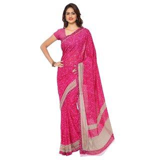 Aagaman Fashion Fashionable Magenta Colored Printed Faux Georgette Saree 1146C