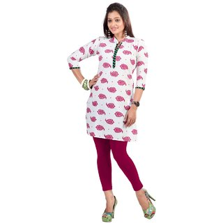 Aagaman fashion Cute Off White Colored Printed Blended Cotton Kurti 1018C M