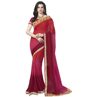 Aagaman Fashion Amazing Maroon Colored Border Worked Faux Georgette Saree 3307